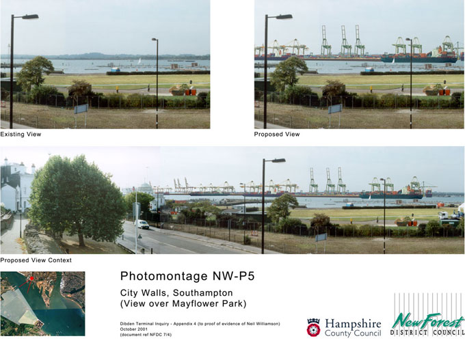One of the photomontages produced for the Dibden Terminal Public Inquiry
