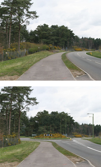 Photomontage showing a proposed roundabout